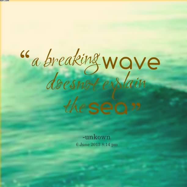 A breaking Wave doesnot explain Nature and Earth Quotes