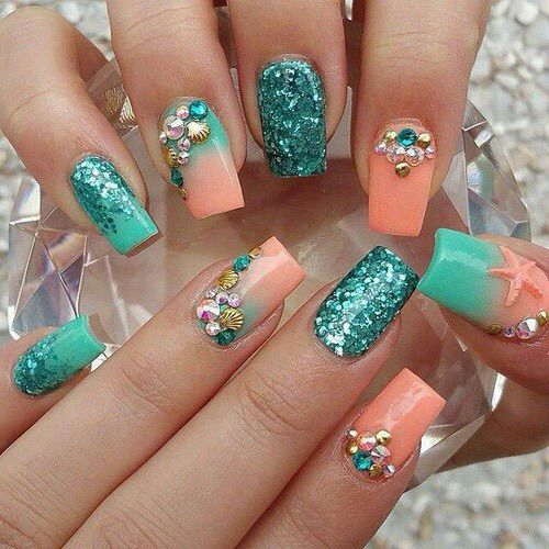 Amazing blue peach glitter Stones nail art