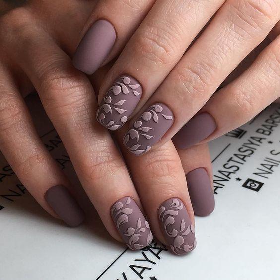 Amazing brown design Matte nail art