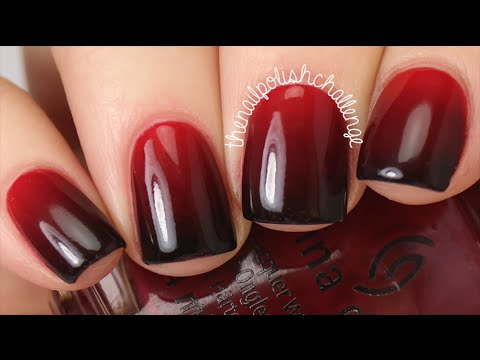 Amazing combo red and black Ombre nail art