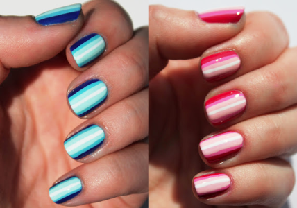 Amazing pink and blue shaded ombre Stripe nail art