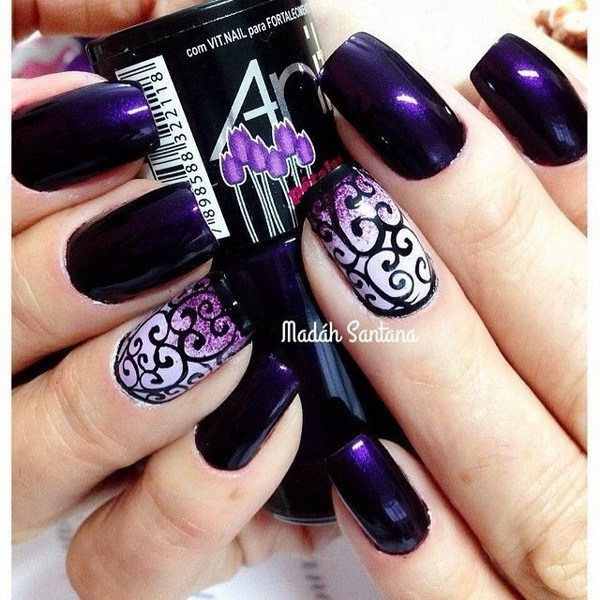 Amazing purple Christmas nail art