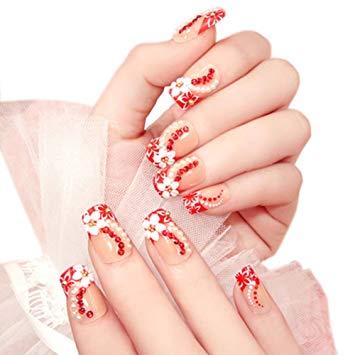 Amazing red stone design Wedding nail art