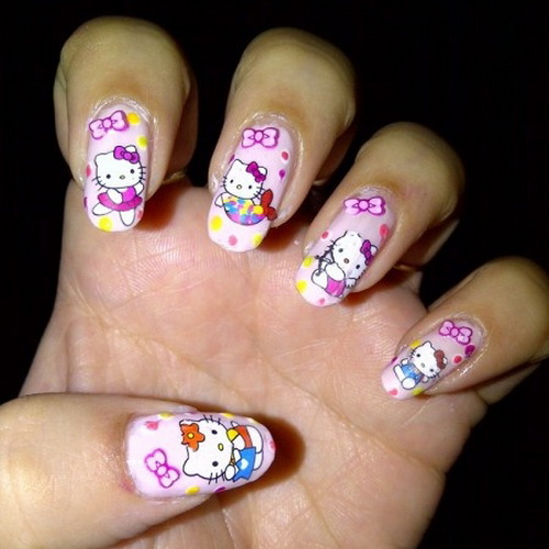 Amazing sticker Hello kitty nail art