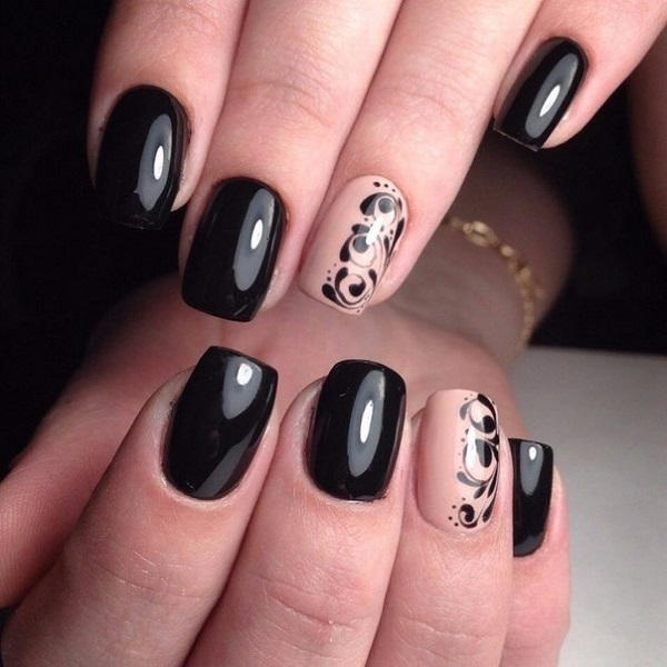 Attractive black Classy nail art