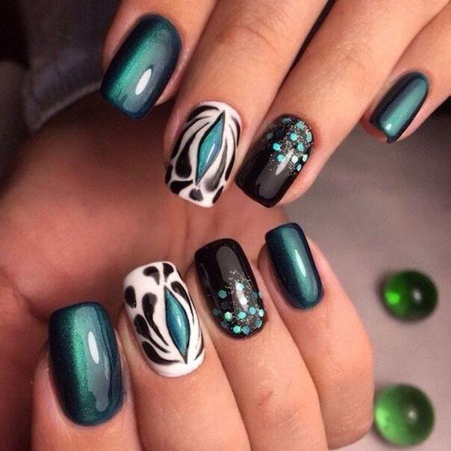 Attractive blue black white print Three color nail art