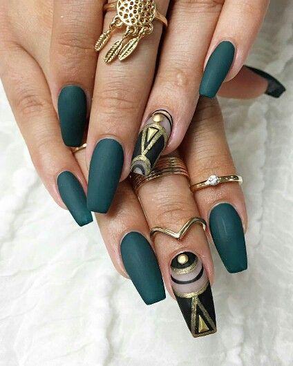 Attractive dark green with black print Matte nail art