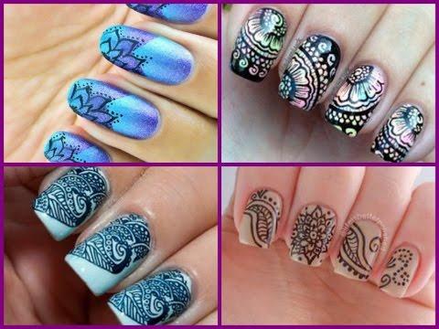 Attractive printed designs Tiles nail art