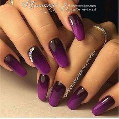 Attractive purple black design Ombre nail art