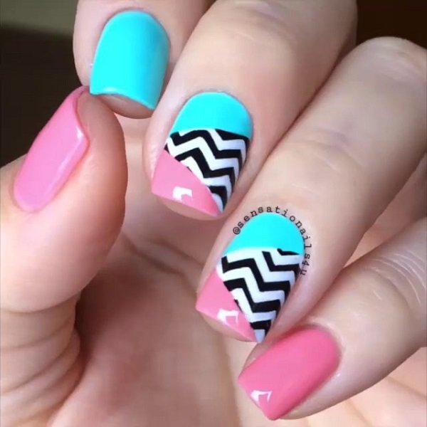 Attractive colorful combi Chevron design nail art