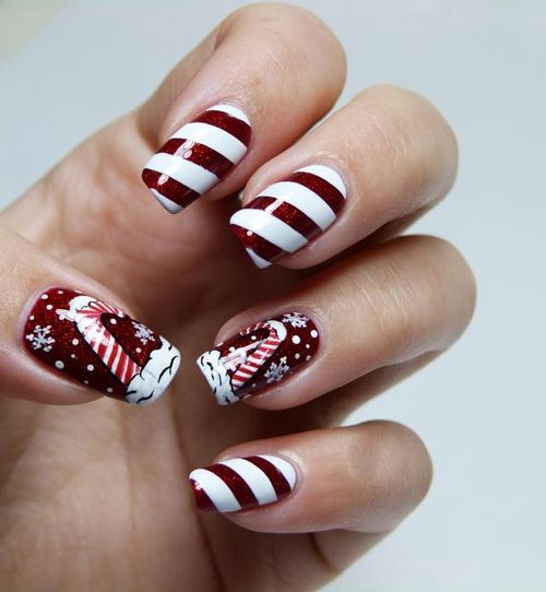Attractive dark red Christmas nail art