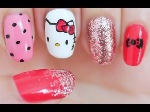 Attractive glitter dotted Hello kitty nail art