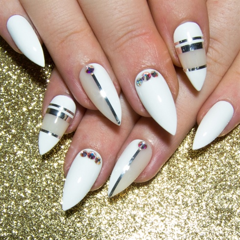 Attractive party ware Color blocking nail art