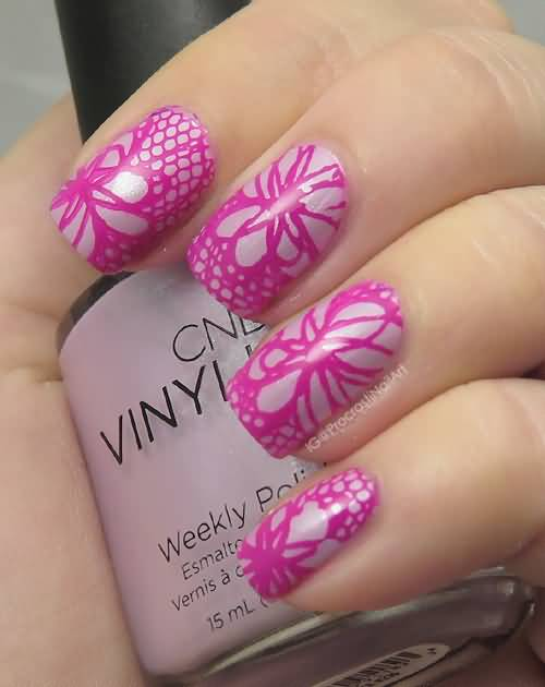 Attractive pink design Contrast nail art
