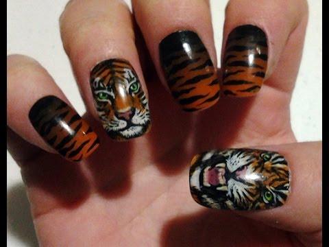 Attractive tiger Animal print nail art