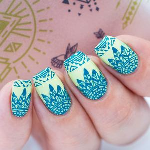 Awesome blue white pattern Tiles nail art