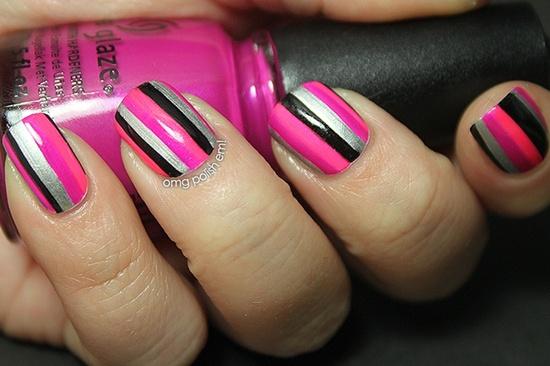 Awesome pink black silver design Stripe nail art