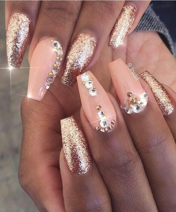 Awesome pink glitter Stones nail art