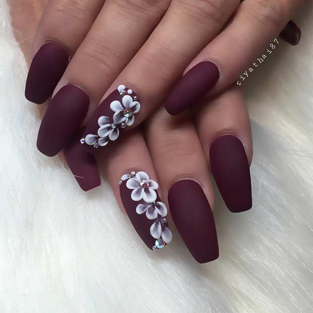 Awesome purple stone design Matte nail art