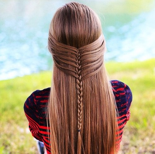 Awesome straight long Braid Hairstyle
