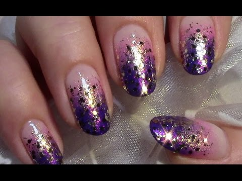 Awesome blue Glitter nail art