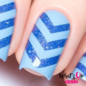 Awesome blue V shape Chevron design nail art
