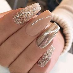 Awseome golden grey Glitter nail art