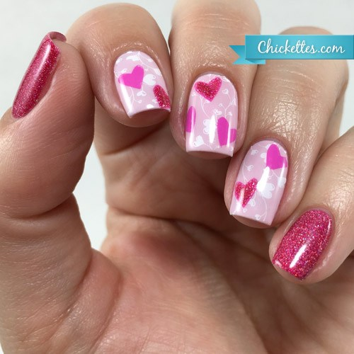 Awesome pink Heart nail art