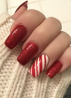 Awesome red glitter Christmas nail art
