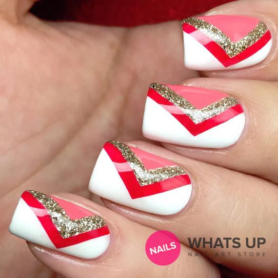 Awsome side v shape Chevron design nail art
