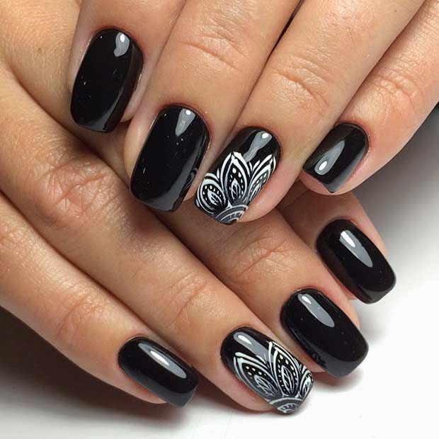 Awesome white & black leaf Edgy nail art