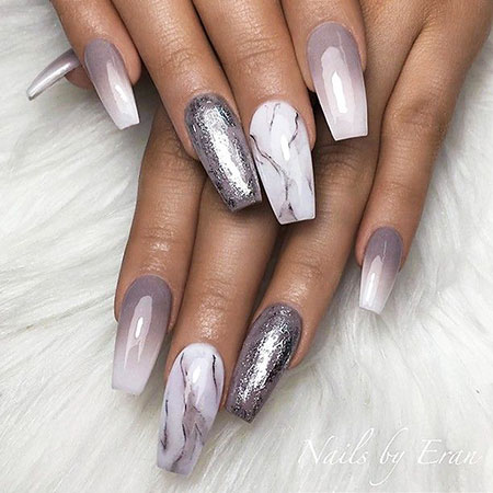 Awesome white glitter Marble nail art