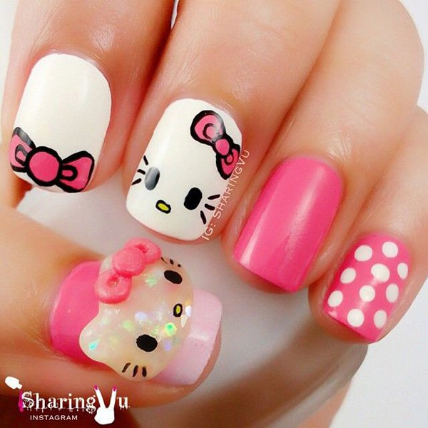 Beautiful baby pink Hello kitty nail art
