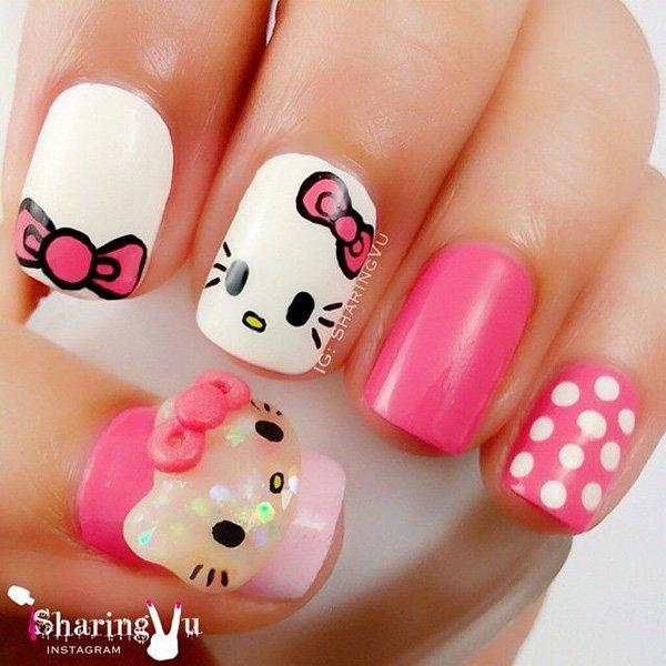 Beautiful baby pink Hello kitty nail art
