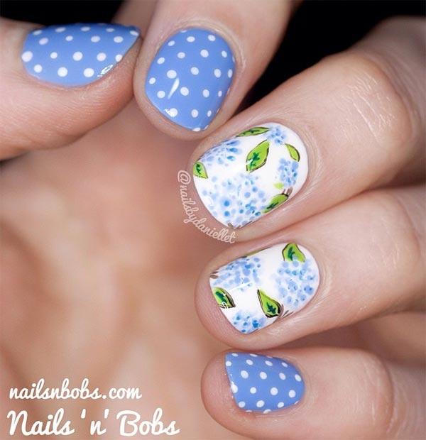 Beautiful blue dotted printed Classy nail art