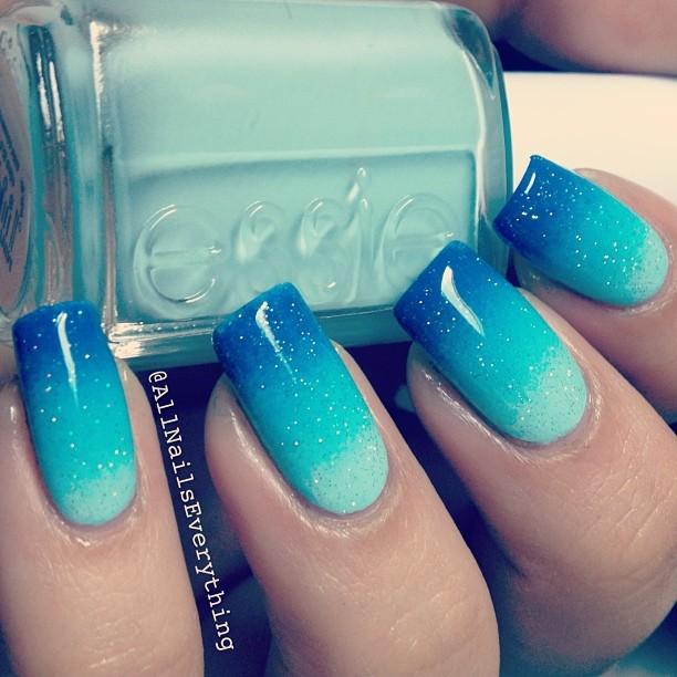 Beautiful blue glitter Ombre nail art