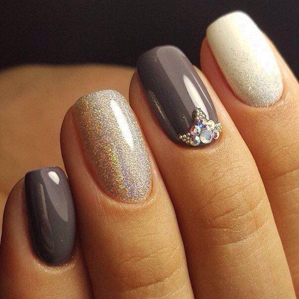 Beautiful grey white glitter stone Three color nail art