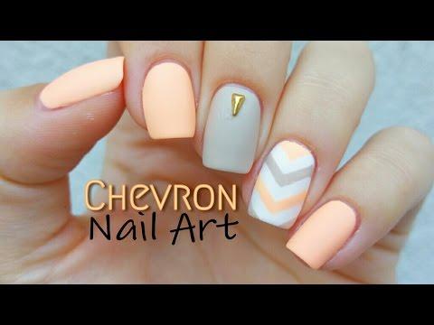 Beautiful lemon color Chevron design nail art