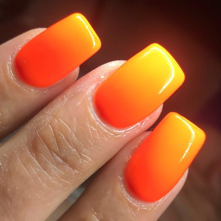 Beautiful orange and yellow mango design Ombre nail art