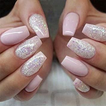 Beautiful pink glitter Edgy nail art