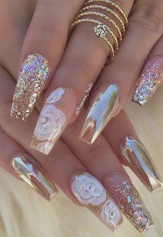 Beautiful pink glitter Wedding nail art