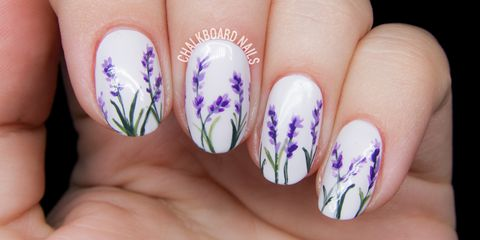 Beautiful printed floral Contrast nail art