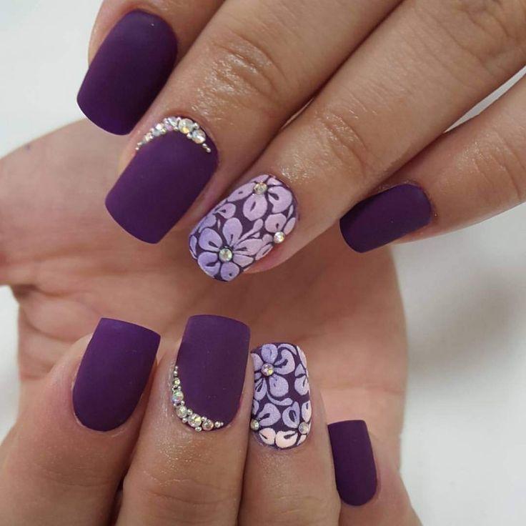 Beautiful purple print Matte nail art