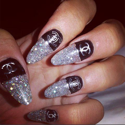 Beautiful silver glitter Edgy nail art