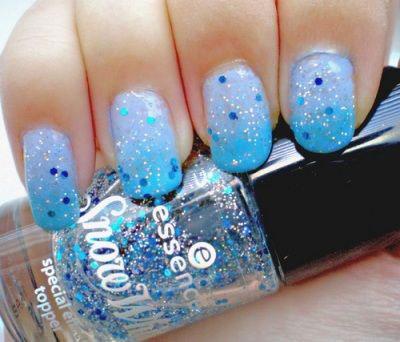 Beautiful sky blue Glitter nail art