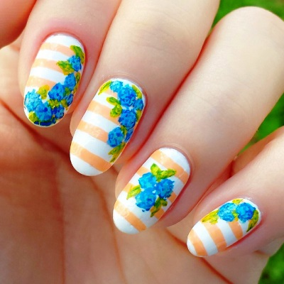 Beautiful white blue flower floral design Stripe nail art
