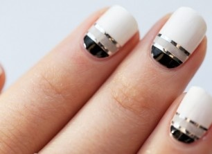 Best black & white Color blocking nail art