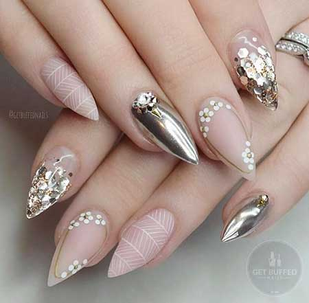 Best bridal white silver design Stones nail art