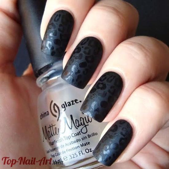 Best design in black Matte nail art