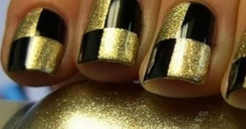 Best golden black design Tiles nail art